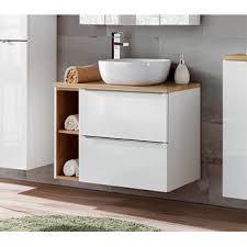 badezimmer set 80cm 2 tlg aufsatz waschbecken und spiegelschrank weiß goldeiche