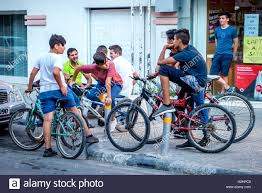 Bike Riding Friends Gather On The Street In Lefkosa Nicosia Cyprus