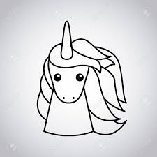 Drawing Cute Unicorn Icon Vector Illustration Design Stock
