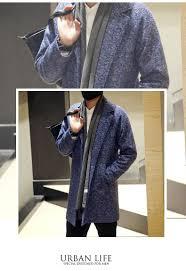 fashion winter woolen trench coat loose long wool coat men turn