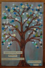 Canvas Button Tree Whimsical Art