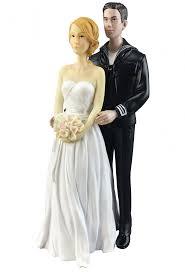 Navy Wedding Cake Topper Caucasian Bride and Groom