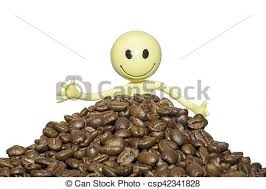 Close Up Of A Happy Coffee Lover With Organic Beans