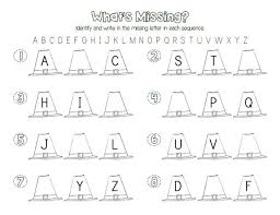 Pilgrim Hat Letter Sequencing Printable Activity