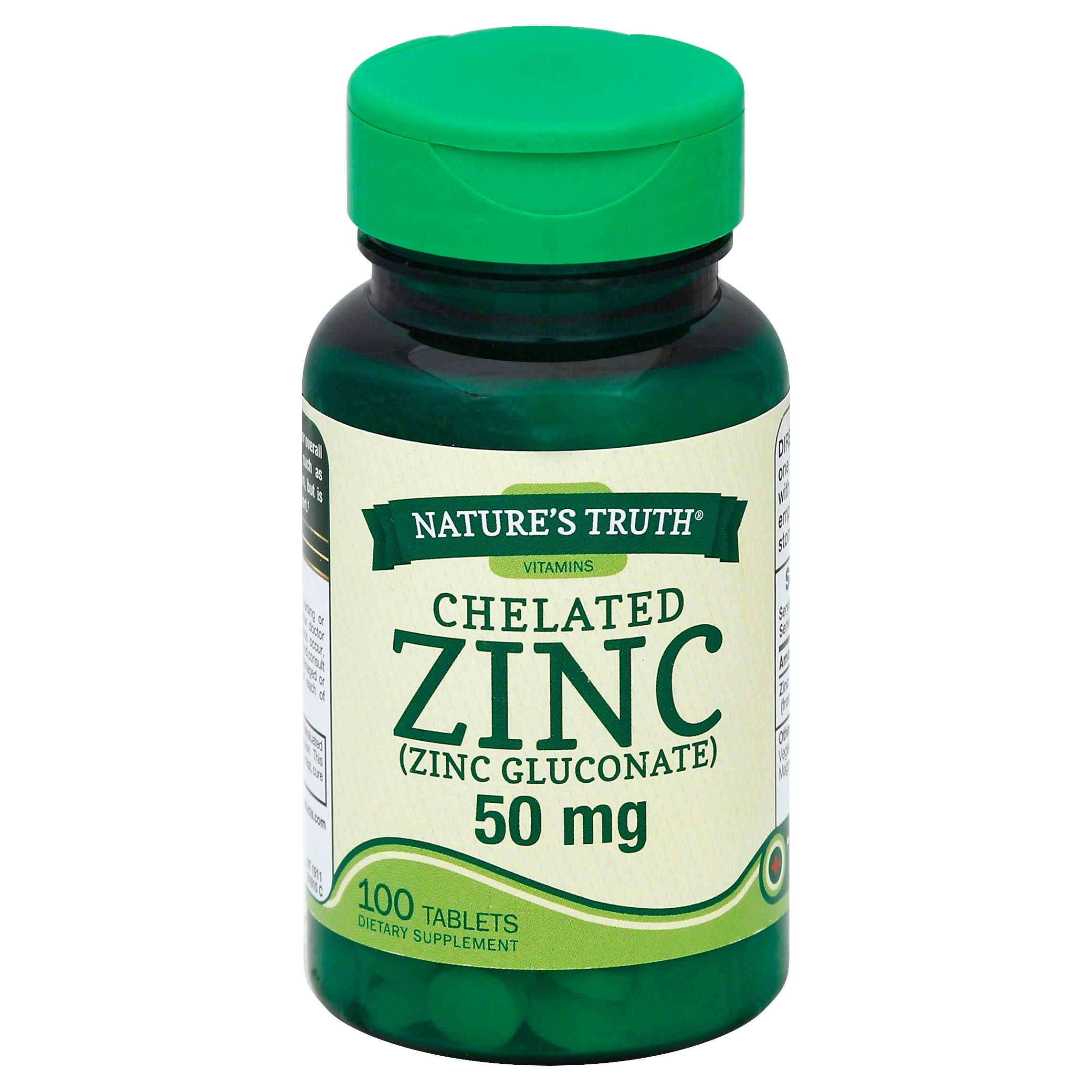 Nature's Truth Zinc Chelated Supplements - 50 mg, 100ct