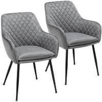 yaheetech 2er set esszimmerstuhl wohnzimmerstuhl küchenstuhl polsterstuhl sessel mit armlehne sitzfläche aus samt metallbeine grau belastbarkeit 120