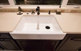 Kohler Smart Divide Apron Sink by Caesarstone Dreamy Marfil With Kohler White Whitehave Sink And Oil