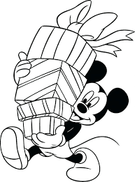 Free Printable Disney Winter Coloring Pages Holiday Mickey Mouse Holding Gifts Sheets