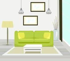 innenraum des modernen wohnzimmers mit sofamöbeln tisch