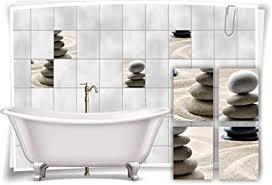 medianlux fliesenaufkleber fliesenbild sand steine wellness spa grau aufkleber deko bad wc 20x25cm fp5p200h 82314