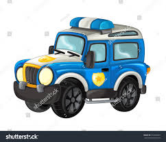 Cartoon Happy And Funny Off Road Police Truck / Smiling Vehicle   EZ ...