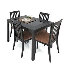 Black Dining Table 4 Chairs Best Set Four Finish Within Sets Plan Round