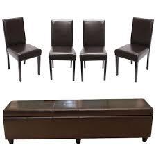 garnitur sitzgruppe bank mit aufbewahrung kriens 4 stühle littau kunstleder leder braun