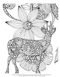 Deer And Big Flower Drawing