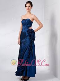 Luxurious Navy Blue Mother Of The Bride Dress Column Sweetheart Hand Made Flower Ankle Length