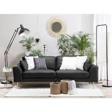 sofa schwarz echtleder 3 sitzer modern wohnzimmer