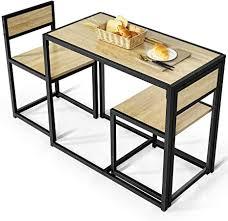 costway 3 tlg küchenbar stehtisch mit 2 barstühlen küche sitzgruppe essgruppe mit metallgestell küchentisch aus holz bartisch set für kleine