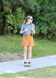 70s Inspired Outfit With A Denim Vest And Suede Mini Skirt Cotton Cashmere Cat
