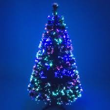 green fibre optic christmas tree with multicoloured leds garden