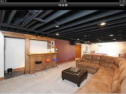 Drop Ceiling For Basement Bathroom by Paint Basement Rafters U0026 Add Lighting Instead Of Drop Ceiling