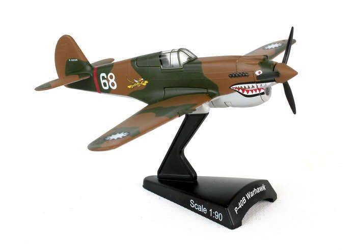 Postage Stamp P 40 Hells Angel Model Plane - Brown, 1:90 Scale