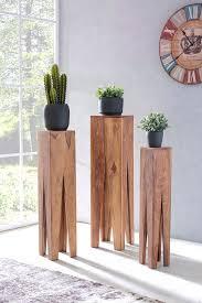 wohnling beistelltisch 3er set kada massivholz akazie wohnzimmer tisch design säulen