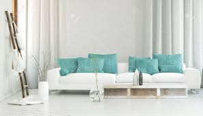Grey White And Turquoise Living Room by Wide White Sofa Decorated By Turquoise Colored Pillows In Between