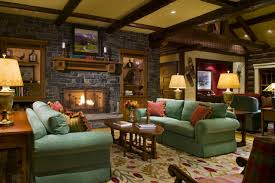 Exciting Fabric Green Sofas And Cushions As Well Log Wood Coffee Table Also Stacked Stone