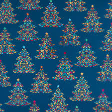 Teal Foil Stained Glass Tree Wrapping Paper