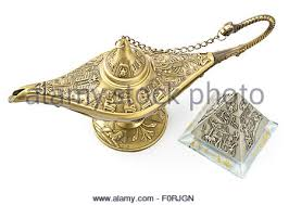 Antique Brass Genie Lamp by Aladdin Magic Or Genie Lamp Vintage Sketch Vector Illustration