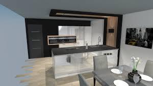 cuisine moderne design avec ilot cuisine moderne laquée blanc brillant avec îlot