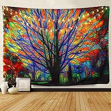 amknn tapeten dekorativ wandteppich baum bunt wandteppich psychedelik mandala bohemian dekoration wohnzimmer oder schlafzimmer