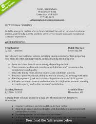 Cashier Resume Experienced Restaurant