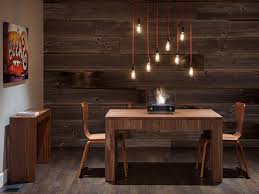 Farmhouse Dining Room Lighting Fixtures Brown Varnished Wooden Folding Table Wood Steel Plastic Material Square