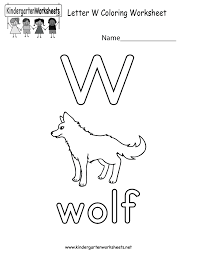 Kindergarten Letter W Coloring Worksheet Printable