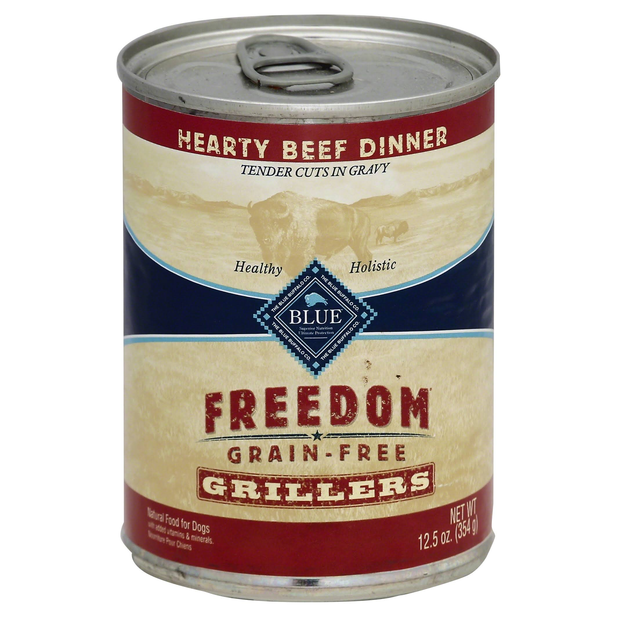 Blue Freedom Grain Free Grillers Adult Dog Food - Hearty Beef Dinner, 12.5oz