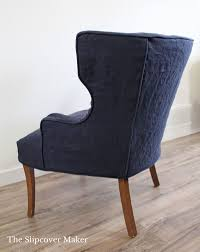 Slipcover Linen Favorite: Washed Navy Blue | Linen Slipcovers ... Duval Wing Back Chair Beige Thrift Store Wingback Chair Linen Offeverydayclub Traditional Slipcover In Washed Linenlocal Clients Onlywing Ruffled Slipcoverwashed Linen Slipcoveryour How To Make Arm Slipcovers For Less Than 30 Howtos Diy Wingback Paris Tips Design Elegant Johnbaptistonline Summer Ottoman Upholstery Finn Slipcovered Swivel Armchair Sausalito Fniture Comfortable For Inspiring Tan Wingbacks By Shelley