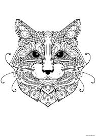 Coloriage à Imprimer Mandala Animaux Chat Bondless
