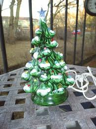 Vintage Ceramic Christmas Tree Small But Beautiful With Mini Lights