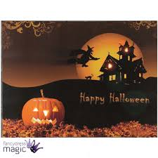 Scene Setters Halloween Uk by Led Light Up Canvas Halloween Spooky Scene Picture Wall Home