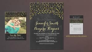 Gold And Chalkboard Confetti Wedding Invites