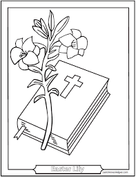 Easter Coloring Pages Printable Lily And Bible