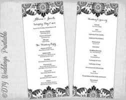 DIY Program Template Black Antique Lace Wedding Order Of Ceremony And White Printable