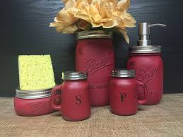 5pc Distressed Barn Red Mason Jar Kitchen Set
