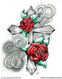An Idea For The Cross Tattoo That I Want But A Butterfly Not Flowers