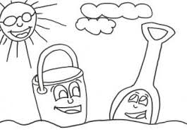 Summer Coloring Pages Beach With Bucket Shovel Page