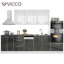 details zu vicco küche s line küchenzeile küchenblock einbauküche 295cm anthrzit weiß