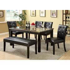 furniture of america benning heights 6 piece faux marble dining