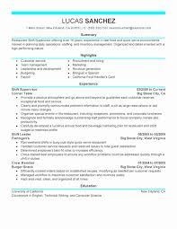 Restaurant Assistant Manager Resume Supervisor Samples Kenindle Fortzone
