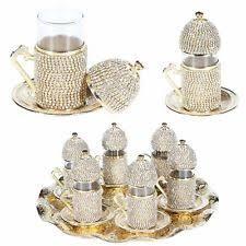 SET Of 6Turkish Coffee Tea Glasses Set Saucers Holders Crystal Decorated Cups